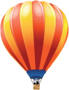 Vector illustration of a hot air balloon by Jeff Poissant, RGD. Used as a design element on our website for evolvingmedia.com.