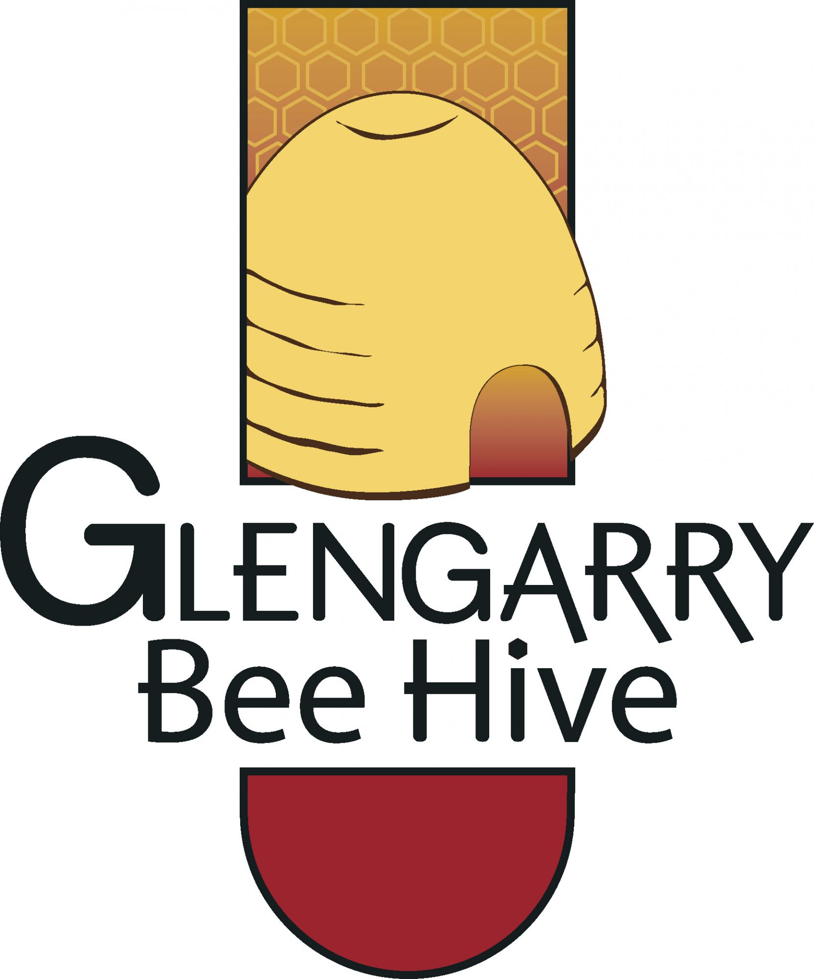 Logo design by Jeff Poissant, RGD of Evolving Media & Design Inc. for Glengarry Bee Hive, a brand of Levac Aperies, in Eastern Ontario.