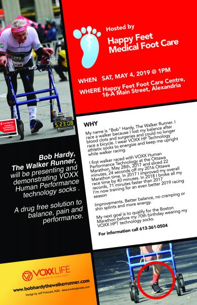 Happy Feet Medical Foot Care presents Bob Hardy The Walker Runner., VOXX Socks. Poster design by Jeff Poissant, RGD of Evolving Media.